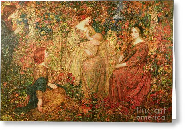 Rose Garden Greeting Cards - The Child Greeting Card by Thomas Edwin Mostyn