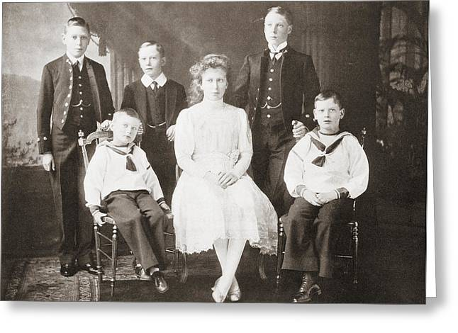British Royalty Greeting Cards - The Children Of King George V. From Greeting Card by Vintage Design Pics