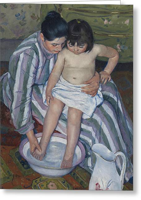 The Child's Bath Greeting Card by Mary Stevenson Cassatt