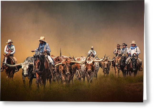 Recently Sold -  - Steer Greeting Cards - The Chisolm Trail Greeting Card by David and Carol Kelly