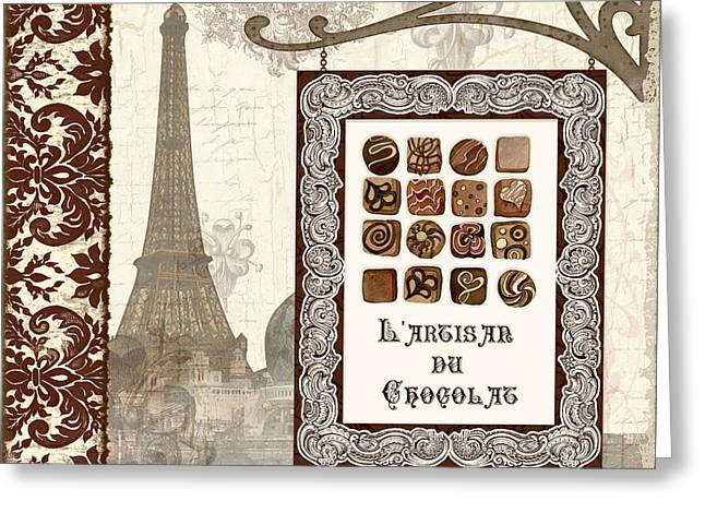 The Chocolate Artisan - Paris Greeting Card by Audrey Jeanne Roberts