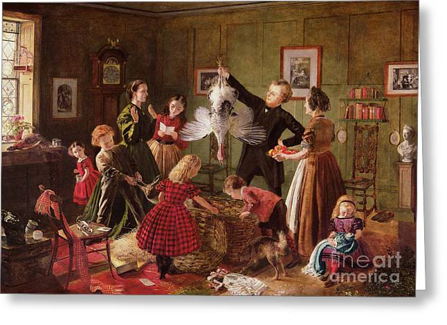 Present Paintings Greeting Cards - The Christmas Hamper Greeting Card by Robert Braithwaite Martineau