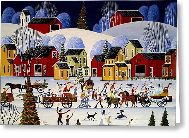 Folk Art Greeting Cards - The Christmas Parade - artist folkartmama Greeting Card by Debbie Criswell