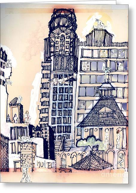 Rope Mixed Media Greeting Cards - The Chrysler Building An Erotic Fantasy Greeting Card by Carolyn Weltman