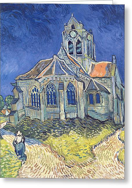 D Greeting Cards - The Church at Auvers sur Oise Greeting Card by Vincent Van Gogh