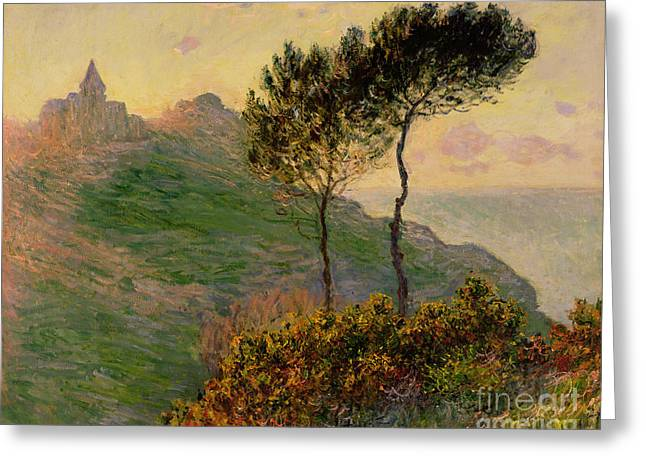 Ocean Shore Paintings Greeting Cards - The Church at Varengeville against the Sunlight Greeting Card by Claude Monet