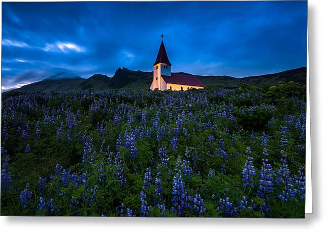 The Church At Vik Greeting Card by Joseph Rossbach