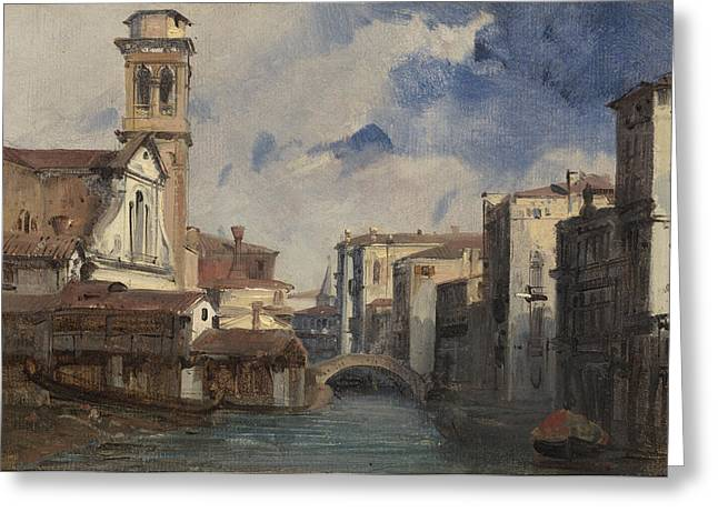 The Church Greeting Cards - The Church Of Santo Trovaso - Venice Greeting Card by Jules-romain Joyant