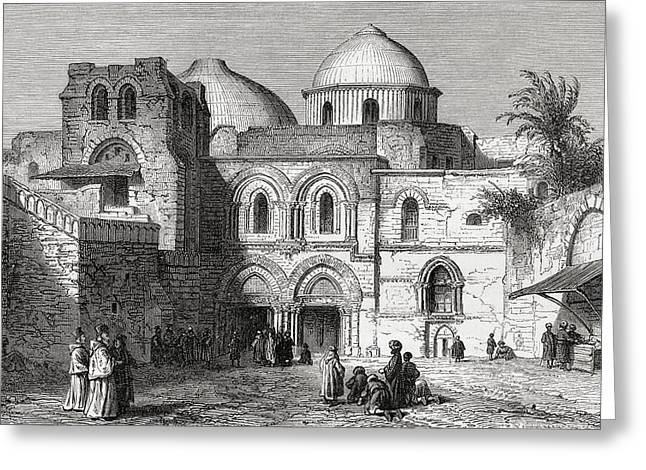 Sepulchre Drawings Greeting Cards - The Church Of The Holy Sepulchre In The Greeting Card by Vintage Design Pics
