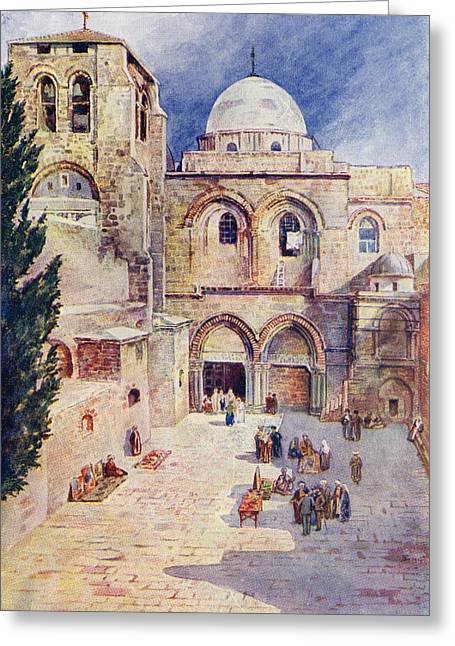 Sepulchre Drawings Greeting Cards - The Church Of The Holy Sepulchre Greeting Card by Vintage Design Pics
