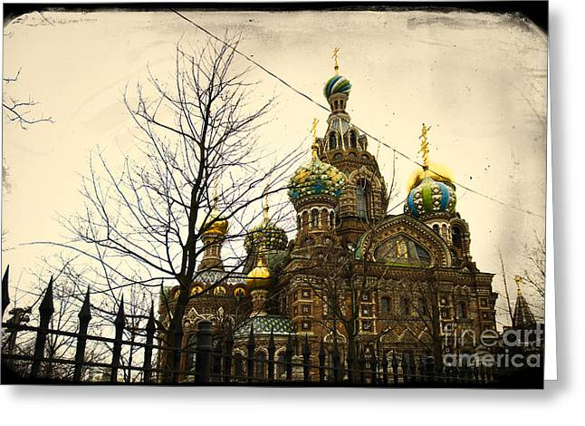 Church On Spilled Blood Greeting Cards - The Church of the Savior on Spilled Blood in St.Petersburg Greeting Card by A Cappellari