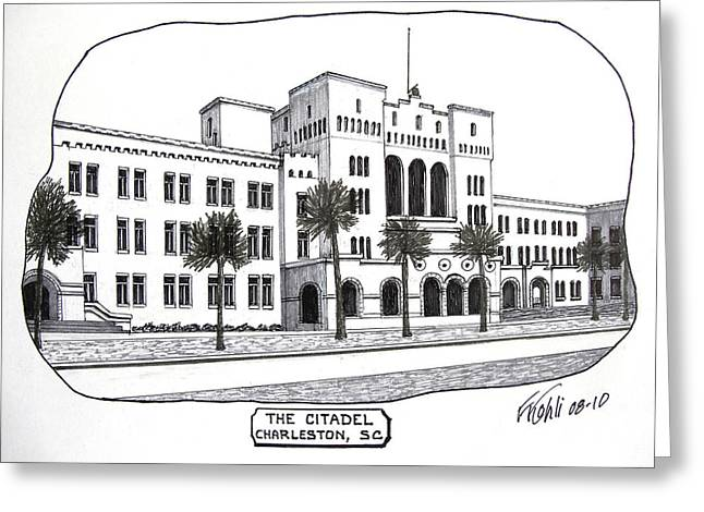 College Campus Buildings Drawings Greeting Cards - The Citadel Greeting Card by Frederic Kohli
