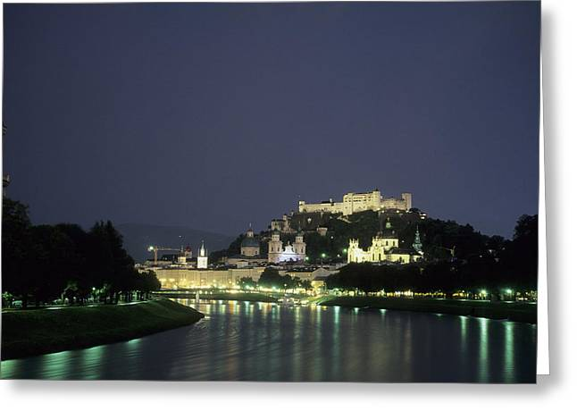 The City Is Illuminated At Night Greeting Card by Taylor S. Kennedy