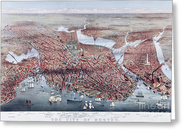 The City Of Boston Greeting Card by Charles Parsons