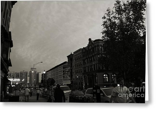 Light And Dark Greeting Cards - The City of Hoboken Black and White Greeting Card by Marina McLain