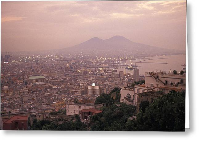 Docked Boats Greeting Cards - The City Of Naples And Mount Vesuvius Greeting Card by Richard Nowitz
