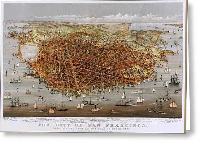 San Francisco Bay Drawings Greeting Cards - The City Of San Francisco 1878 Greeting Card by Currier And Ives