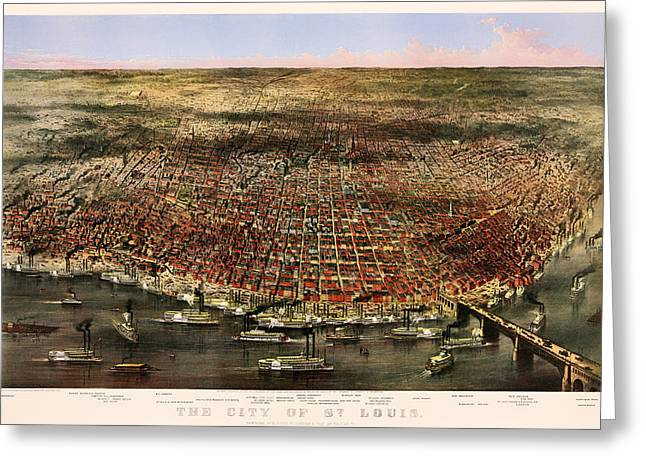 1874 Greeting Cards - The City Of St Louis 1874 Greeting Card by Currier And Ives