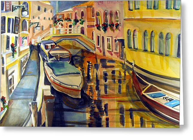Yatch Greeting Cards - The City Where the Rainbow Fell Greeting Card by Mindy Newman