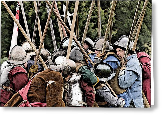 British Portraits Greeting Cards - The Clash Of The Pikemen Greeting Card by Linsey Williams
