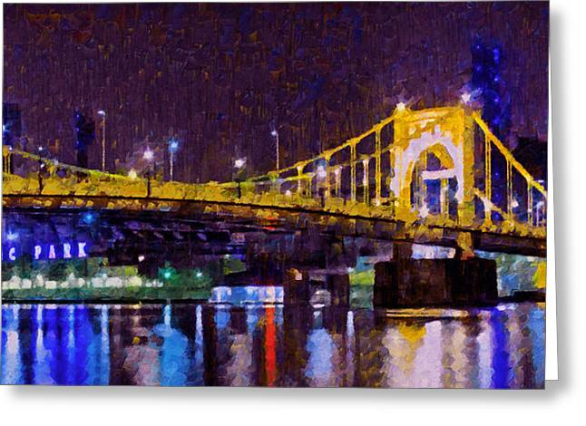 Pnc Park Digital Art Greeting Cards - The Clemente Bridge Heading to the Northshore Greeting Card by Digital Photographic Arts