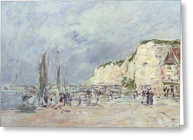 Boudin; Eugene Louis (1824-98) Greeting Cards - The Cliffs at Dieppe and the Petit Paris Greeting Card by Eugene Louis Boudin