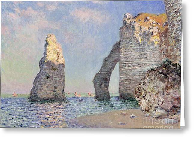 Blue Sailboat Greeting Cards - The Cliffs at Etretat Greeting Card by Claude Monet