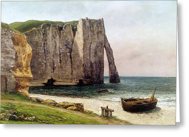 Courbet Paintings Greeting Cards - The Cliffs at Etretat Greeting Card by Gustave Courbet