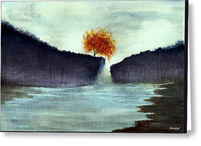 Foggy Beach Drawings Greeting Cards - The Cliffs Greeting Card by Michelle Wenstad