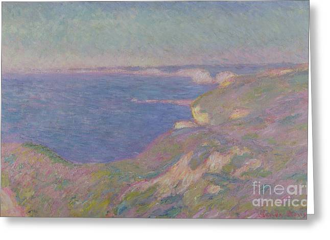 Blue Grass Greeting Cards - The Cliffs Near Dieppe Greeting Card by Claude Monet