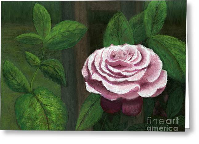 Trellis Pastels Greeting Cards - The Climbing Rose Greeting Card by Ginny Neece