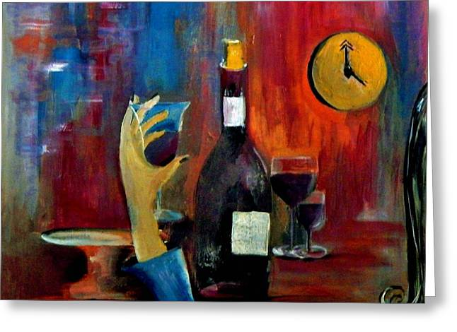 Best Sellers -  - Wine-glass Greeting Cards - The Clock Strikes Happy Hour Greeting Card by Lisa Kaiser
