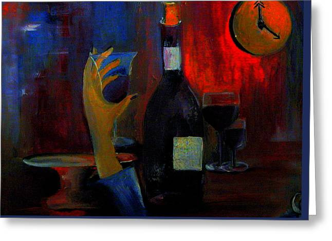 Best Sellers -  - Wine-glass Greeting Cards - The Clock Strikes Happy Hour ll Greeting Card by Lisa Kaiser