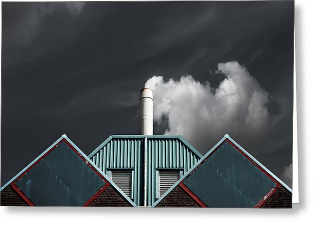 Building Greeting Cards - The Cloud Factory Greeting Card by Gilbert Claes