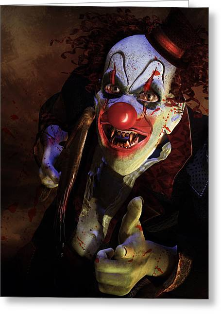 Scary Digital Art Greeting Cards - The Clown Greeting Card by Karen H