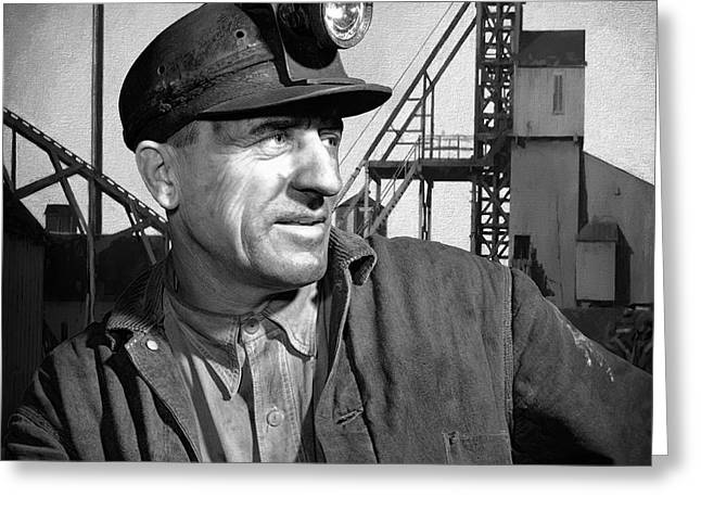 Anthracite Greeting Cards - The COAL MINER Greeting Card by Daniel Hagerman