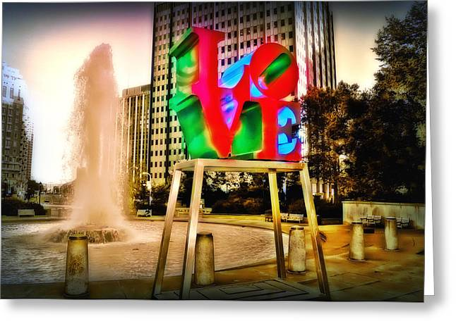 Love Statue Greeting Cards - The Color of Love Greeting Card by Bill Cannon