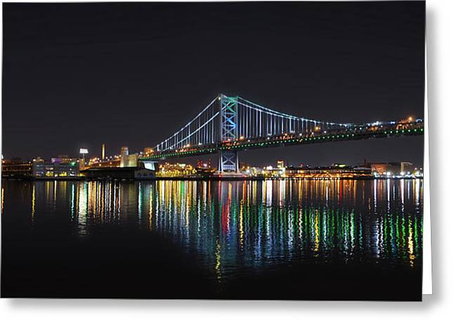 The Colorful Benjamin Franklin Bridge Greeting Card by Bill Cannon