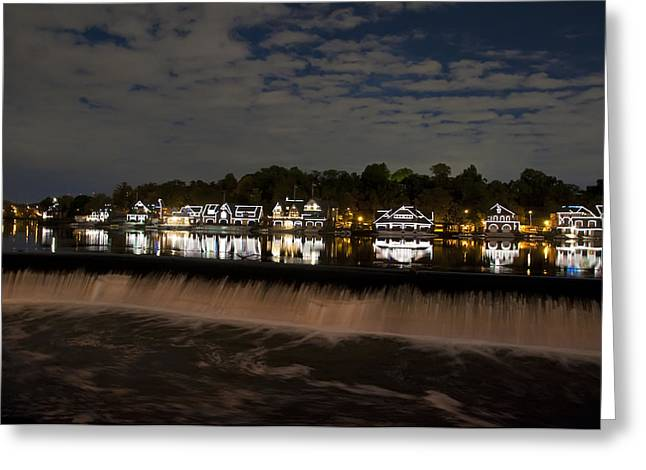 Rowing Crew Digital Art Greeting Cards - The Colorful Lights of Boathouse Row Greeting Card by Bill Cannon