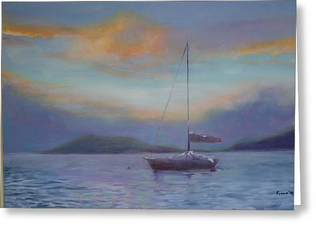 Blue Sailboats Greeting Cards - The colors of Paradise Greeting Card by Fiona Dinali