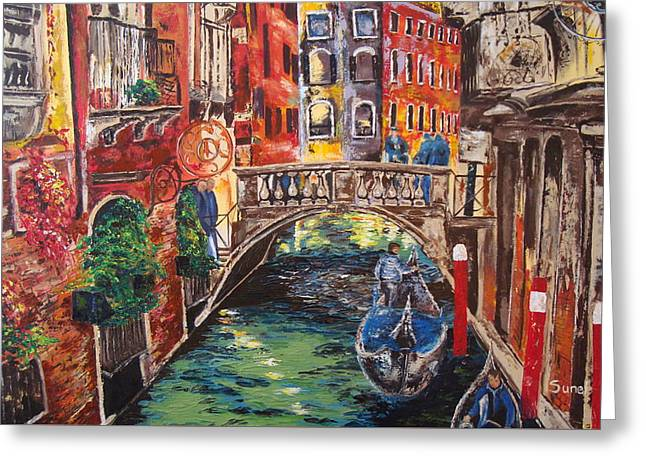 Stepping Stones Greeting Cards - The colors of Venice Greeting Card by Sunel De Lange