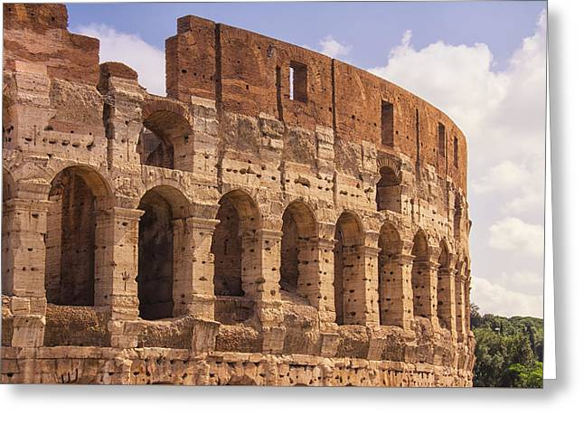 Historic Architecture Greeting Cards - The Colosseum Greeting Card by Daphne Sampson