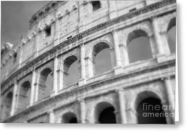 Ancient Ruins Greeting Cards - The Colosseum in Black and White Greeting Card by Sonja Quintero
