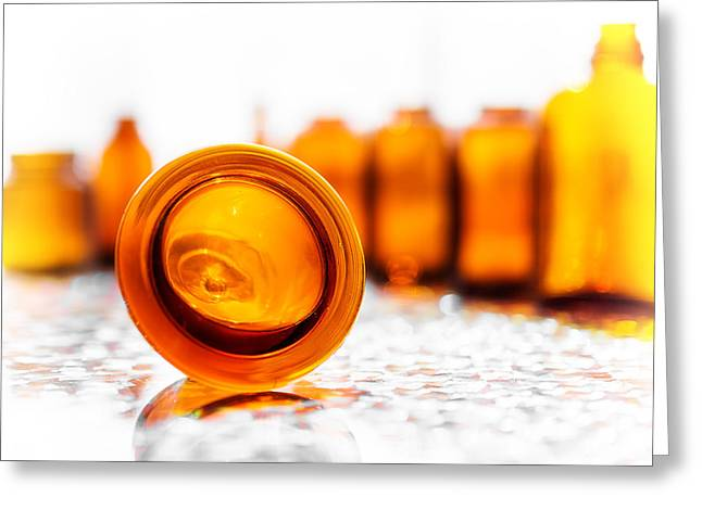 Fine Bottle Greeting Cards - The Colour of Amber I Greeting Card by Jon Woodhams