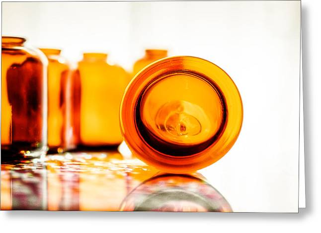 Fine Bottle Greeting Cards - The Colour of Amber V Greeting Card by Jon Woodhams