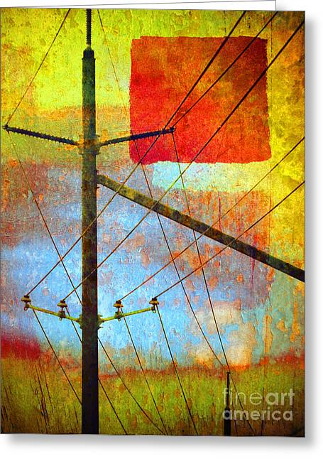 Powerline Greeting Cards - The Colours That Pretend to be the Sky Greeting Card by Tara Turner