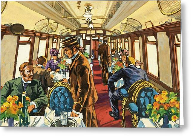 The Comfort Of The Pullman Coach Of A Victorian Passenger Train Greeting Card by Harry Green