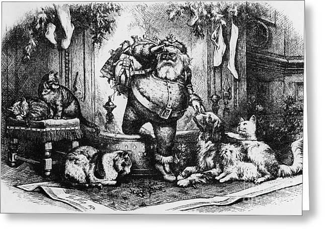 Nast Greeting Cards - The Coming of Santa Claus Greeting Card by Thomas Nast
