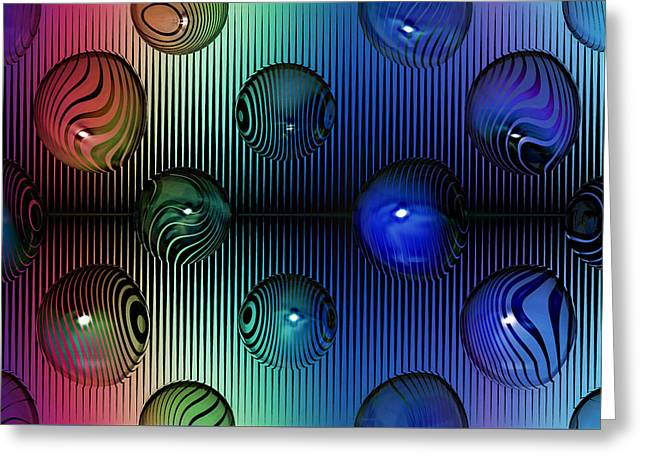Abstract Digital Mixed Media Greeting Cards - The Composition of Fractal Marbles Greeting Card by Mario Carini