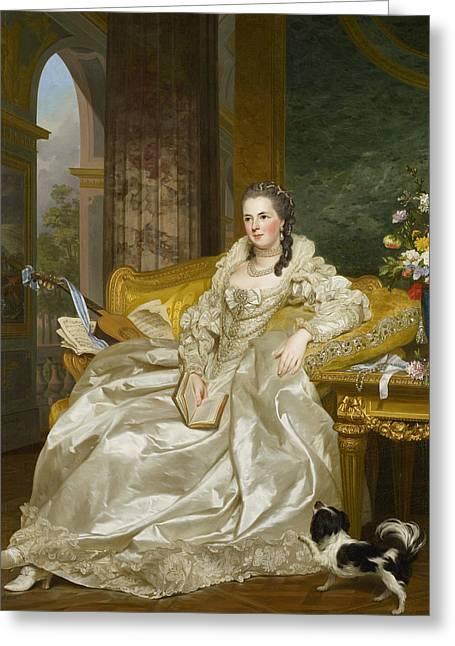 The Comtesse D'egmont Pignatelli In Spanish Costume Greeting Card by Alexander Roslin